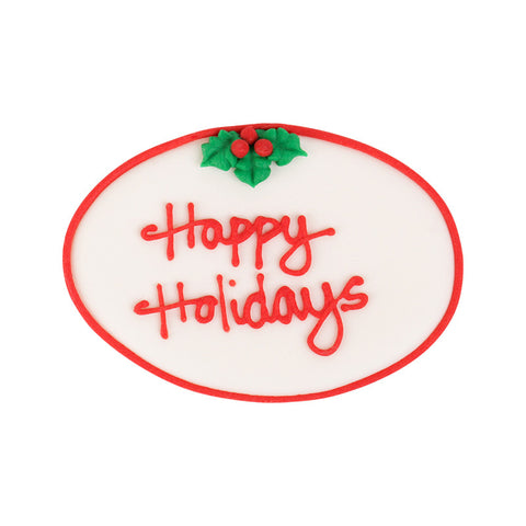Large Happy Holidays Plaque Royal Icing Decorations (Bulk) - Red