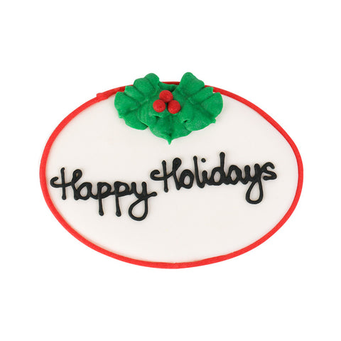 Large Happy Holidays Plaque Royal Icing Decorations (Bulk) - Black