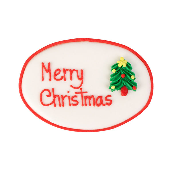 Large Merry Christmas Plaque Royal Icing Decorations (Bulk) - Tree