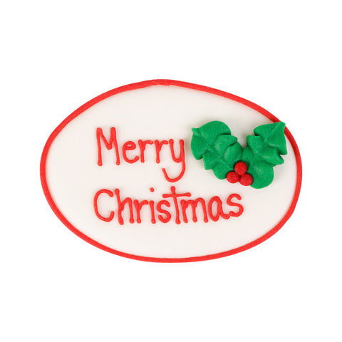 Large Merry Christmas Plaque Royal Icing Decorations (Bulk) - Holly