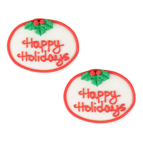 Small Happy Holidays Plaque Royal Icing Decorations (Bulk) - Red