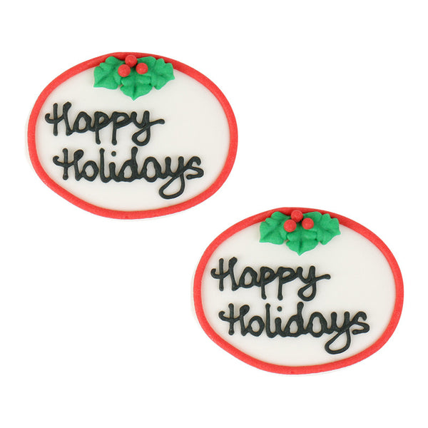 Small Happy Holidays Plaque Royal Icing Decorations (Bulk) - Black