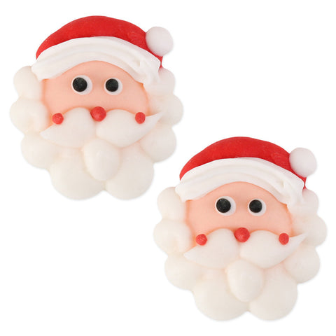 Large Santa Face Royal Icing Decorations (Bulk)
