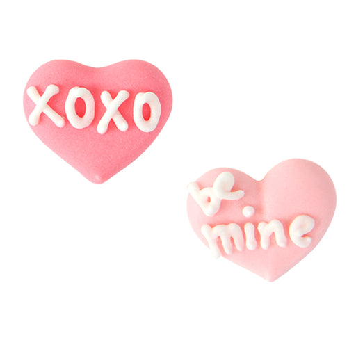 XOXO & Be Mine Hearts Royal Icing Decorations (Bulk)