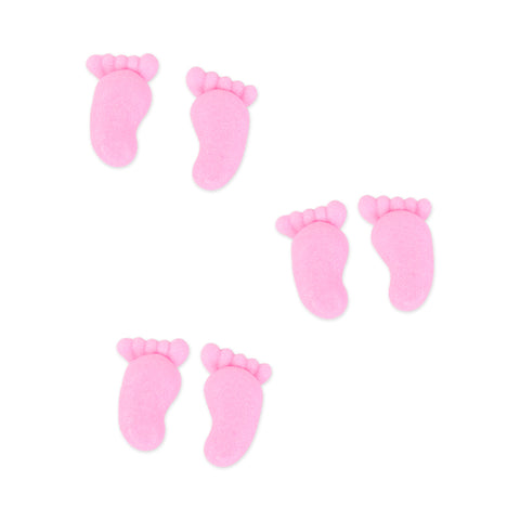 Small Footprints Royal Icing Decorations (Bulk) - Pink