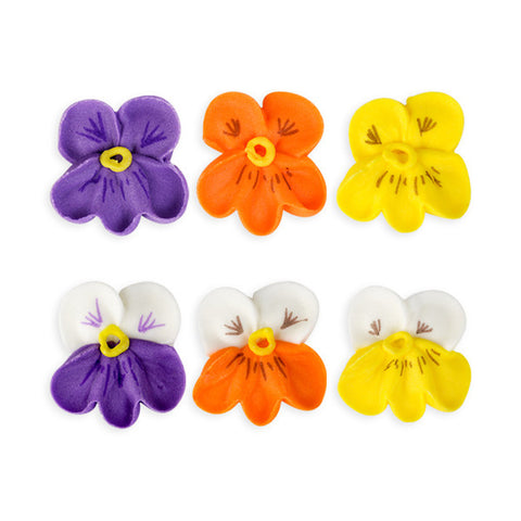 Small Pansy Royal Icing Decorations (Bulk) - Assortment