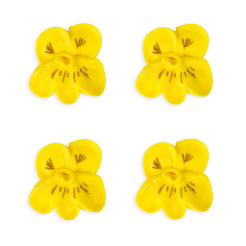 Small Pansy Royal Icing Decorations (Bulk) - Yellow