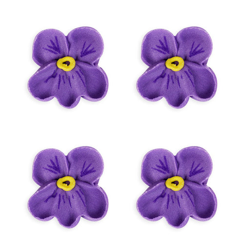 Small Pansy Royal Icing Decor (Bulk) - Purple