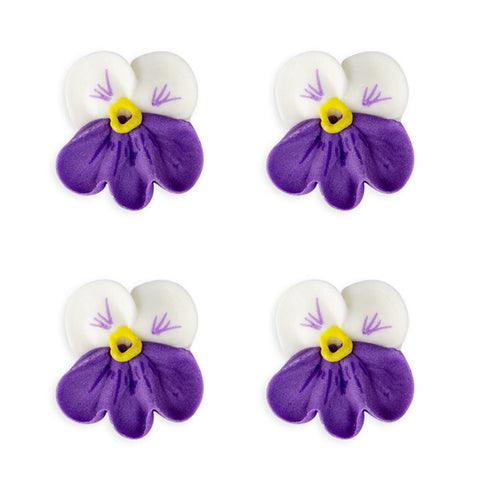Small Pansy Royal Icing Decorations (Bulk) - White w/ Purple