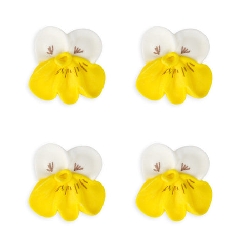 Small Pansy Royal Icing Decorations (Bulk) - White w/ Yellow