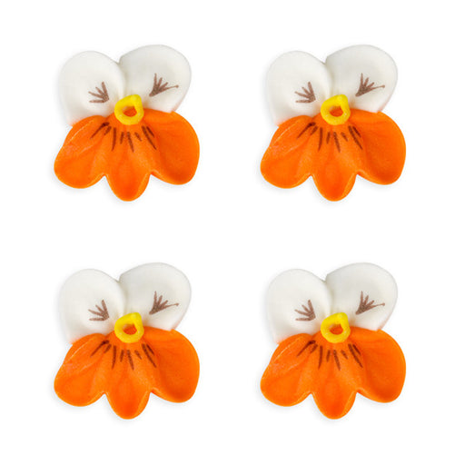 Small Pansy Royal Icing Decorations (Bulk) - White w/ Orange