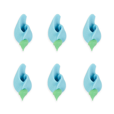 Small Rosebud Royal Icing Decorations (Bulk) - Blue