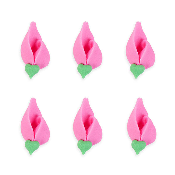 Small Rosebud Royal Icing Decorations (Bulk) - Hot Pink