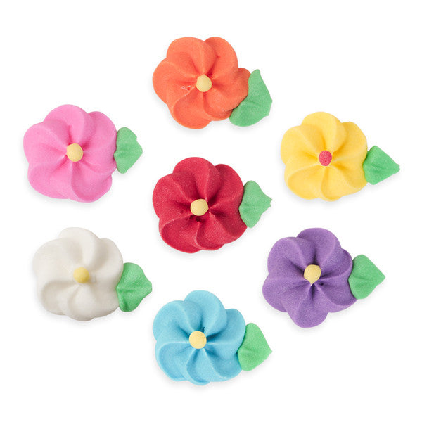 Medium Drop Flower w/ Leaves Royal Icing Decorations (Bulk) - Assortment