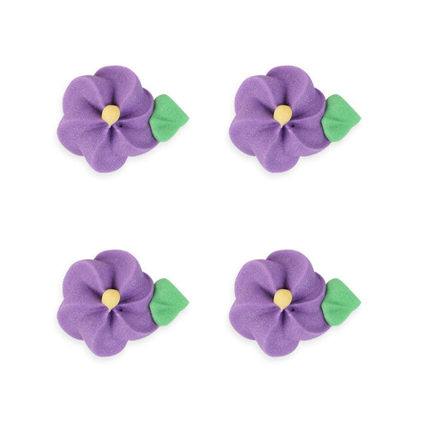 Medium Drop Flower w/ Leaves Royal Icing Decorations (Bulk) - Purple