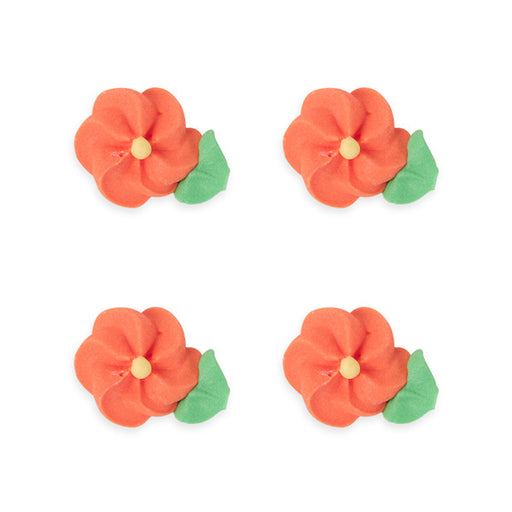 Medium Drop Flower w/ Leaves Royal Icing Decorations (Bulk) - Orange