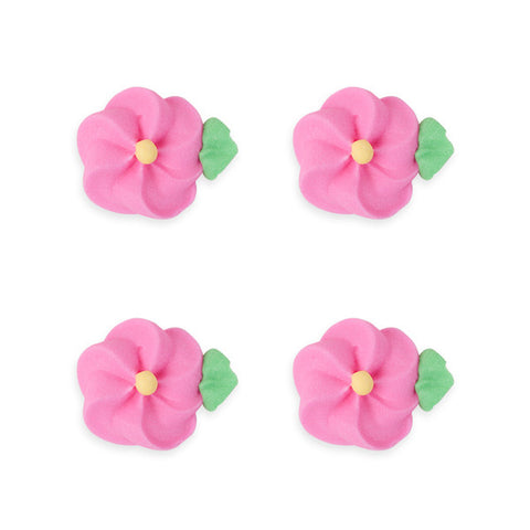 Medium Drop Flower w/ Leaves Royal Icing Decorations (Bulk) - Pink