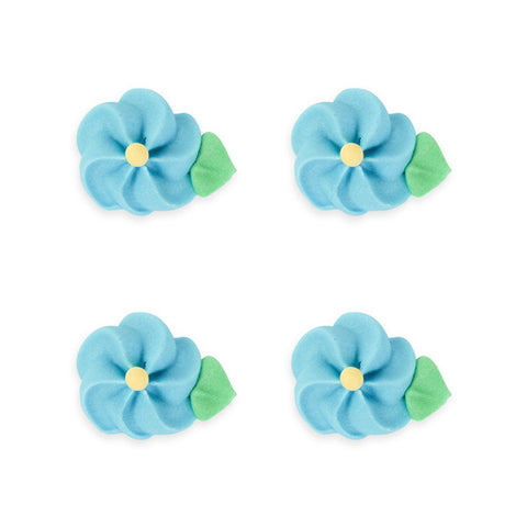 Medium Drop Flower w/ Leaves Royal Icing Decorations (Bulk) - Blue