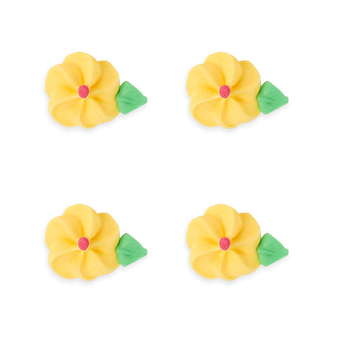 Medium Drop Flower w/ Leaves Royal Icing Decorations (Bulk) - Yellow