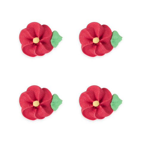 Medium Drop Flower w/ Leaves Royal Icing Decorations (Bulk) - Red