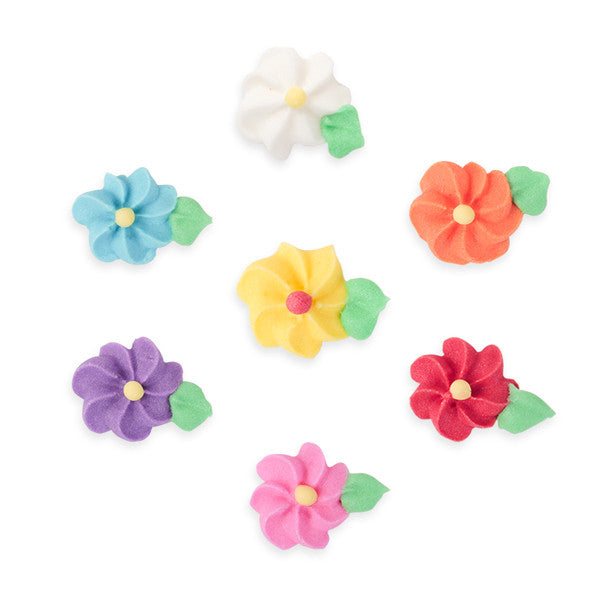Small Drop Flower w/ Leaves Royal Icing Decorations (Bulk) - Assortment
