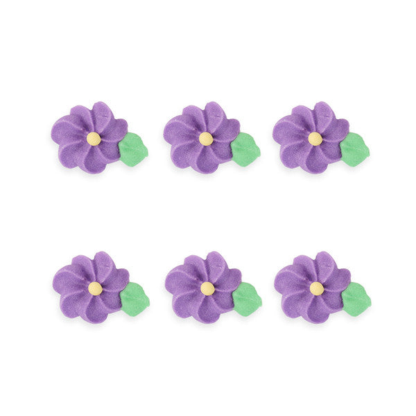 Small Drop Flower w/ Leaves Royal Icing Decorations (Bulk) - Purple