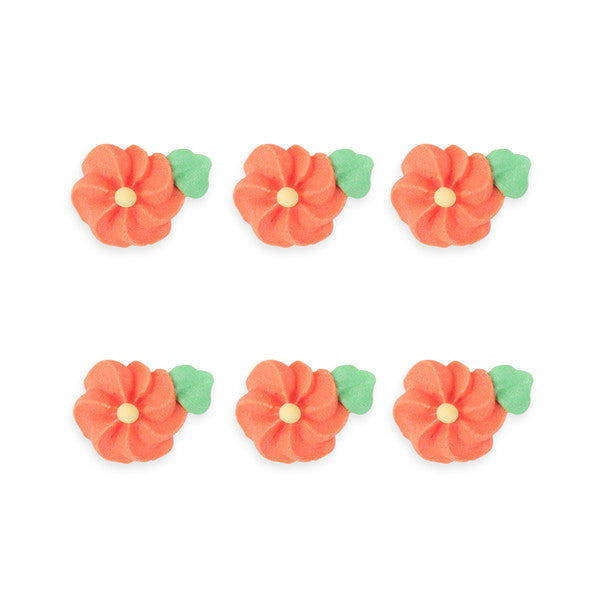 Small Drop Flower w/ Leaves Royal Icing Decorations (Bulk) - Orange