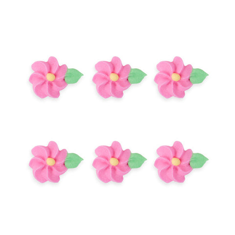 Small Drop Flower w/ Leaves Royal Icing Decorations (Bulk) - Pink