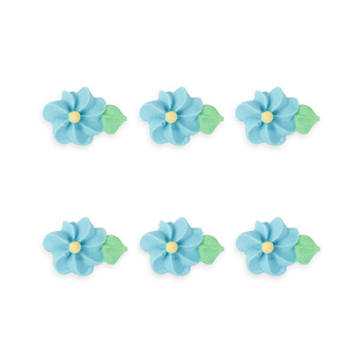 Small Drop Flower w/ Leaves Royal Icing Decorations (Bulk) - Blue