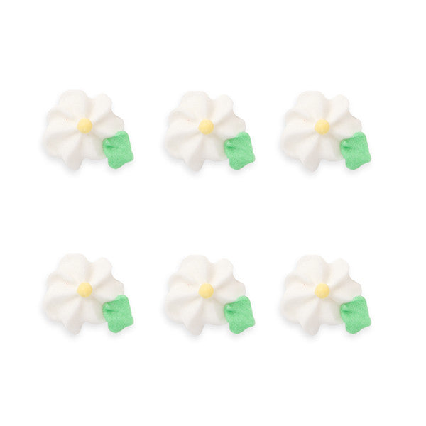 Small Drop Flower w/ Leaves Royal Icing Decorations (Bulk) - white