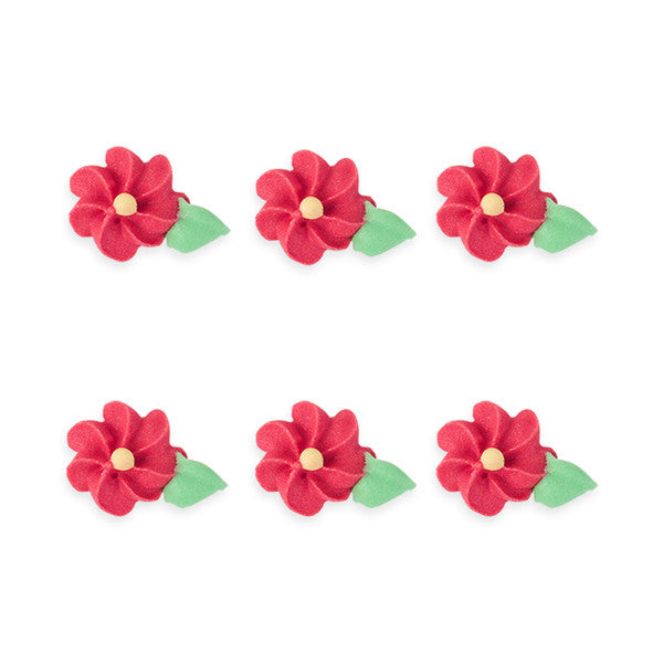 Small Drop Flower w/ Leaves Royal Icing Decorations (Bulk) - Red