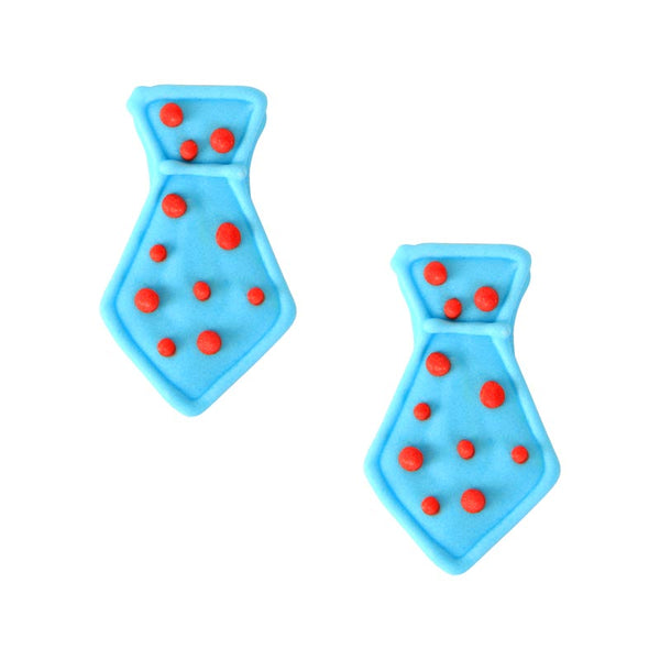 Blue Neck Tie w/ Polka Dots Royal Icing Decorations (Bulk)