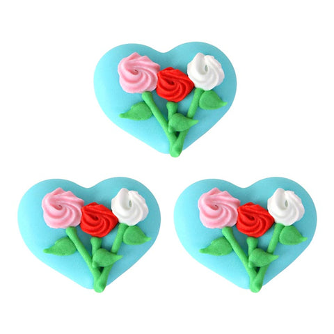 Blue Heart w/ Flowers Royal Icing Decorations (Bulk)