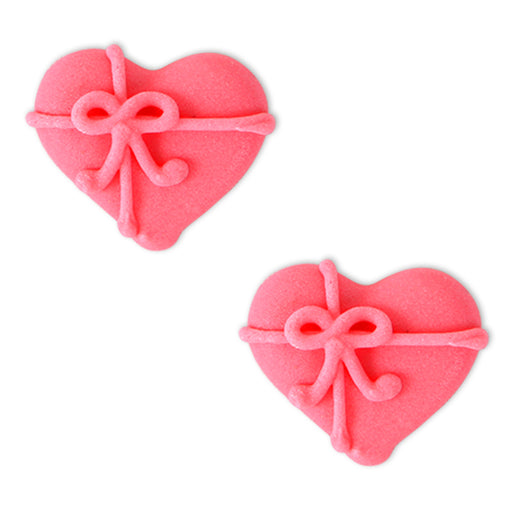 Hearts w/ Bow Royal Icing Decorations (Bulk)
