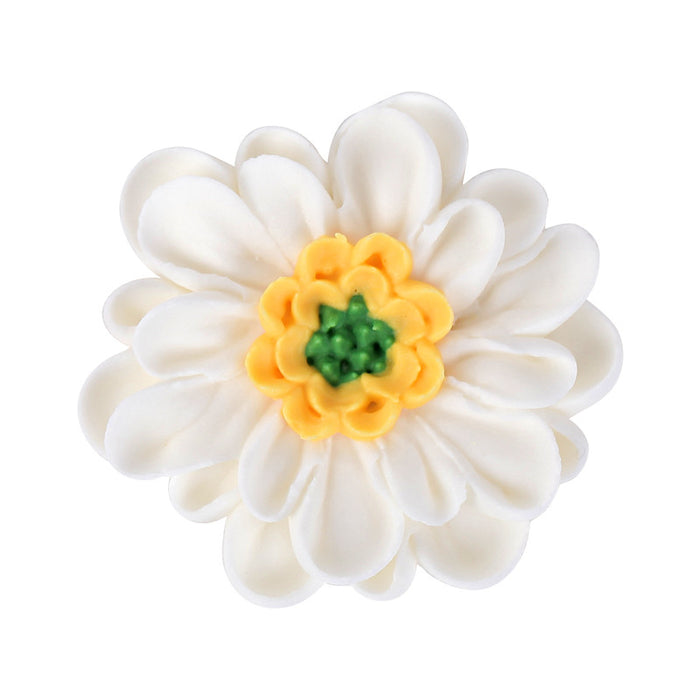 Daisy w/ Yellow & Green Center Royal Icing Decorations (Bulk)