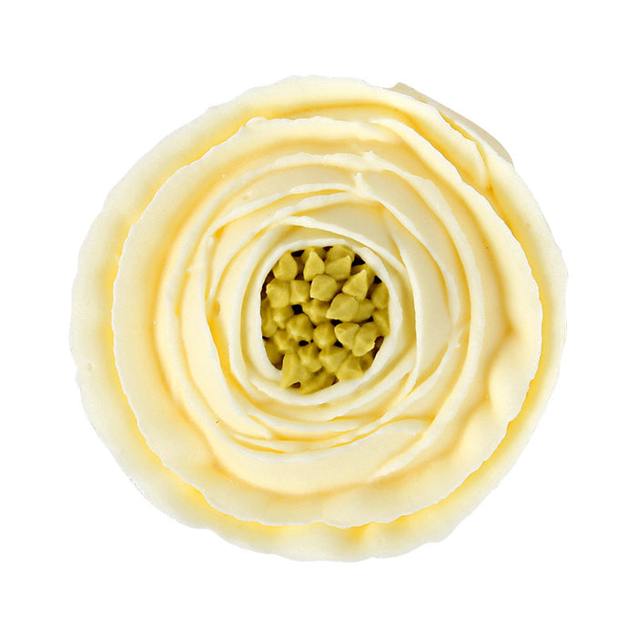 Large Ranunculus Royal Icing Decorations (Bulk) - Ivory w/Green Center