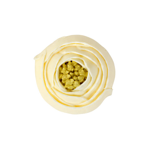 Small Ranunculus Royal Icing Decorations (Bulk) - Ivory w/Green Center