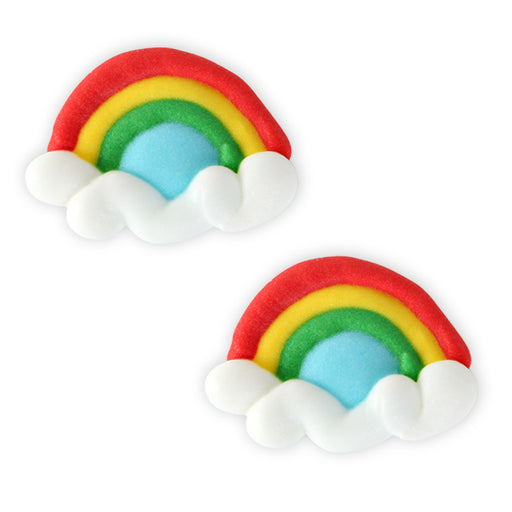 Rainbow Royal Icing Topper for cake decorating your own cupcakes, cakes, and fine chocolates.  Edible chocolate decorations.