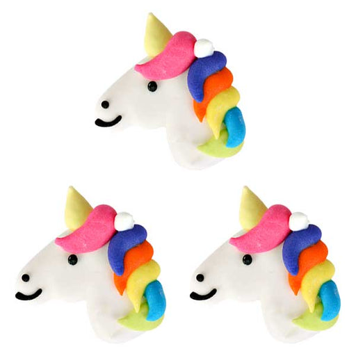 Unicorn Royal Icing Toppers for decorating your own cupcakes, chocolates, cookies, cakes, and other desserts. Edible hand piped icing toppers ready to use on your food.