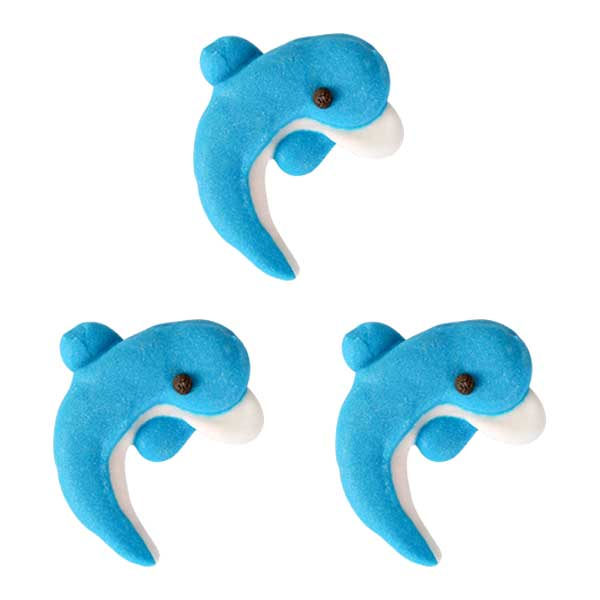 Dolphin Royal Icing Toppers for decorating your cupcakes, cookies, chocolates, candy, cakes, and more.  Edible icing toppers handmade.