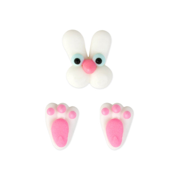 Bunny Face & Feet Royal Icing Decorations (Bulk)