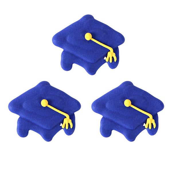 Graduation Cap Royal Icing Decorations (Bulk)-Blue
