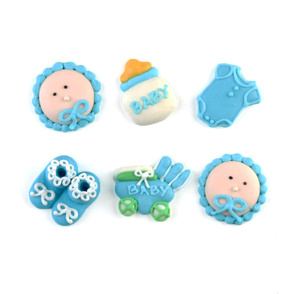 Baby Things Royal Icing Decorations (Bulk) - Blue