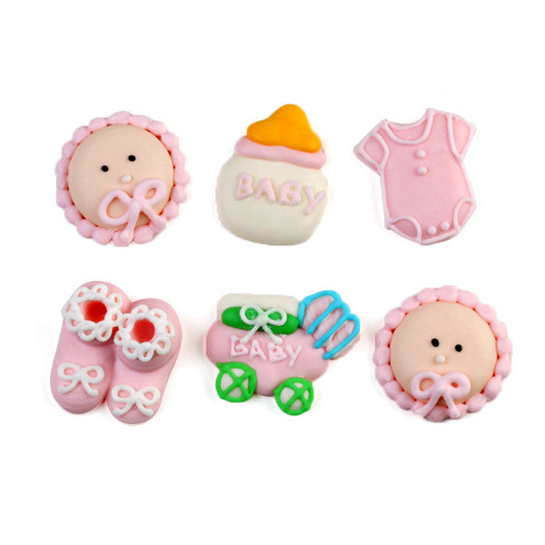 Baby Things Royal Icing Decorations (Bulk) - Pink