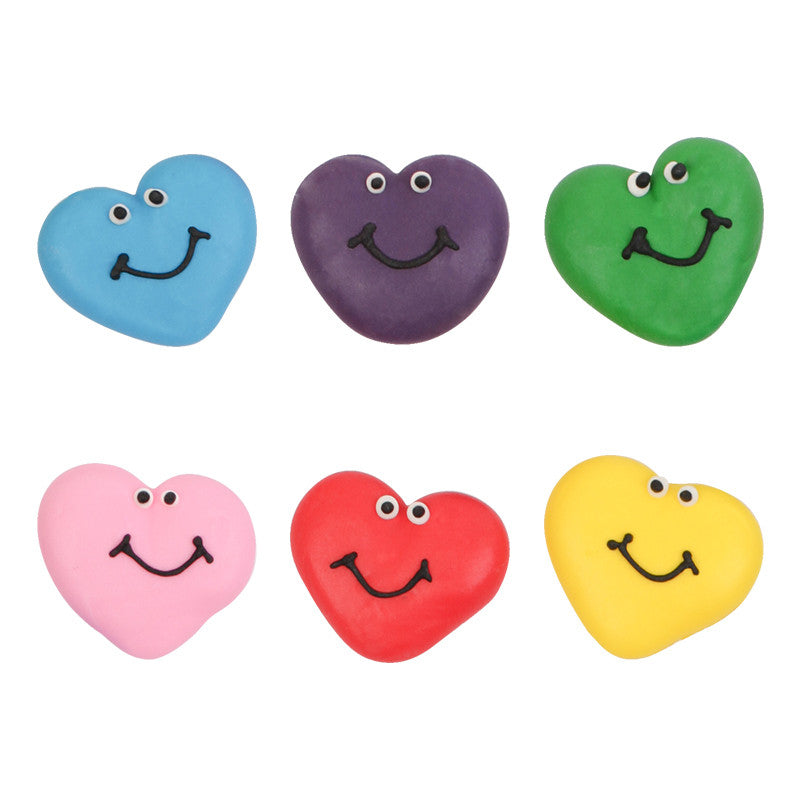 Heart Faces Royal Icing Decorations (Bulk)
