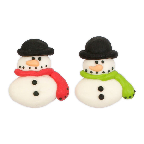 Snowmen with Hats Royal Icing Decorations (Bulk)