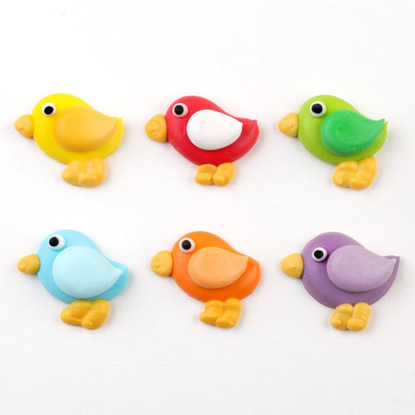 Fun colorful Bird cupcake toppers from royal icing.  Perfect for cake decorating everyday cakes and cupcakes.  Wholesale cake supply.