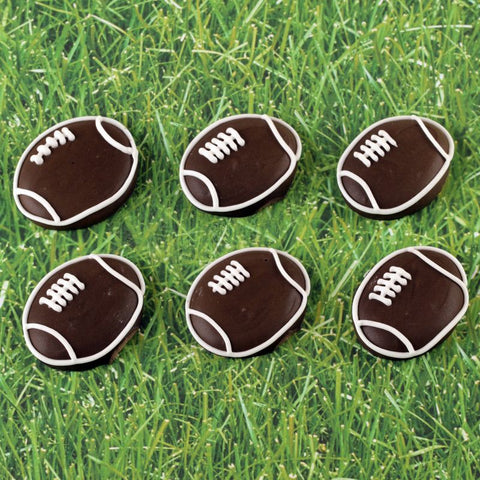 Royal Icing Football Cupcake Topper Decorations perfect for cake decorating boy's birthday cupcakes.