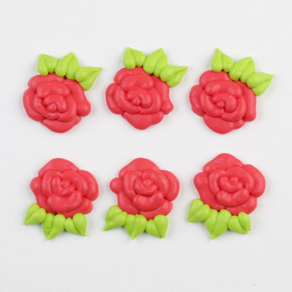 Flat Rose Royal Icing Decorations - Red