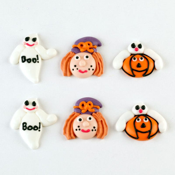 Piped Royal Icing Halloween cupcake topper cupcake decorations perfect for fondant cupcake decorating or halloween cake pops.  Wholesale cupcake decorations.  Edible cupcake decorations.  Halloween cupcake decorations.